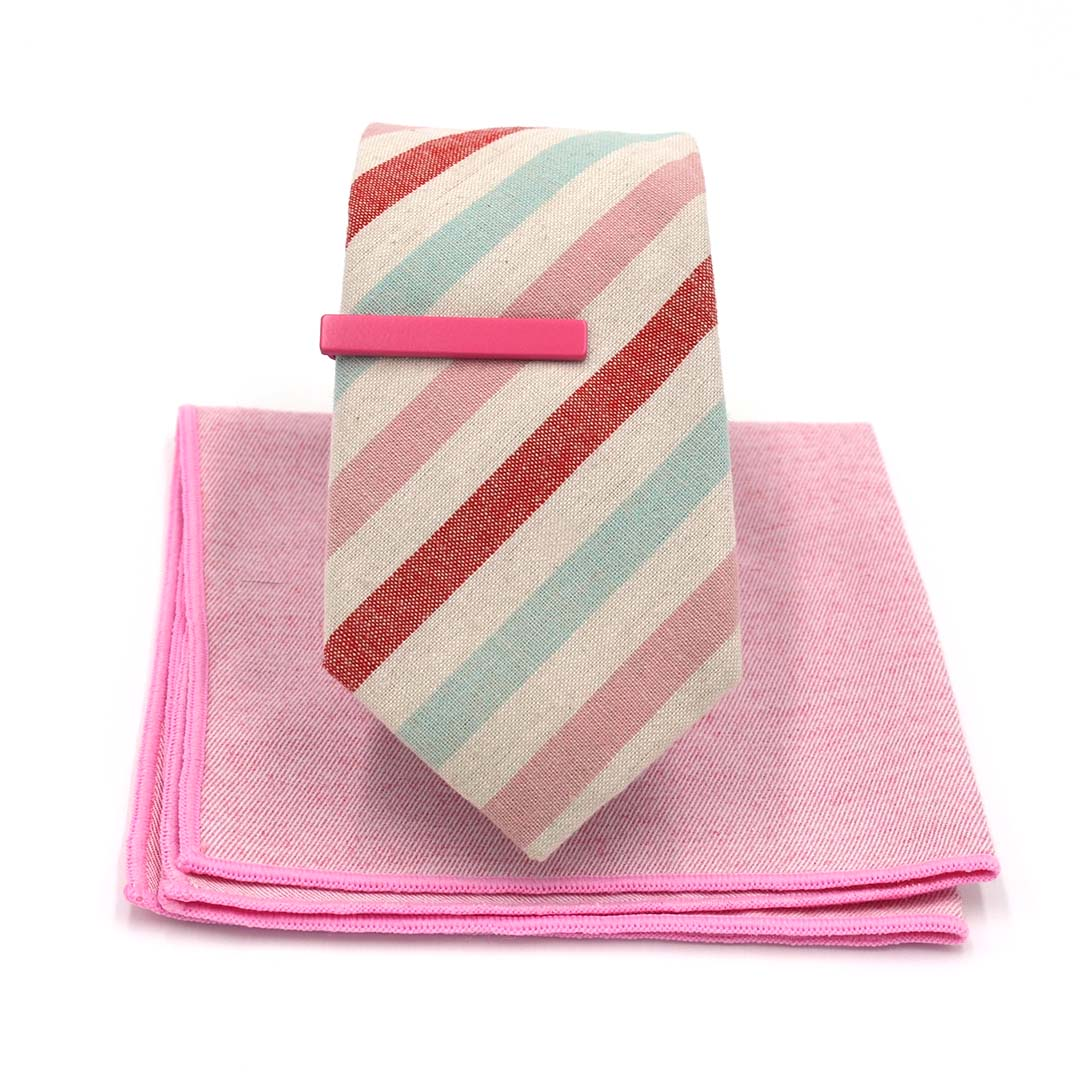 Striped Arctic Cherry Tie Set