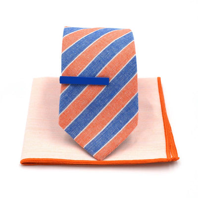 Striped Light Orange Denim Tie Set