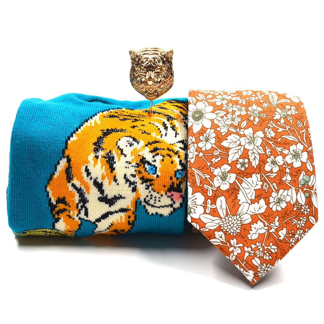 floral orange tiger tie sock set