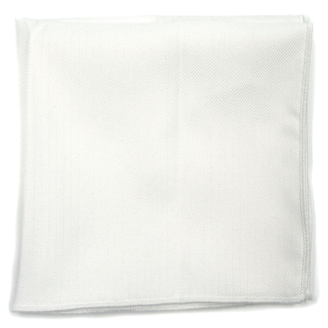 Herringbone White Pocket Square