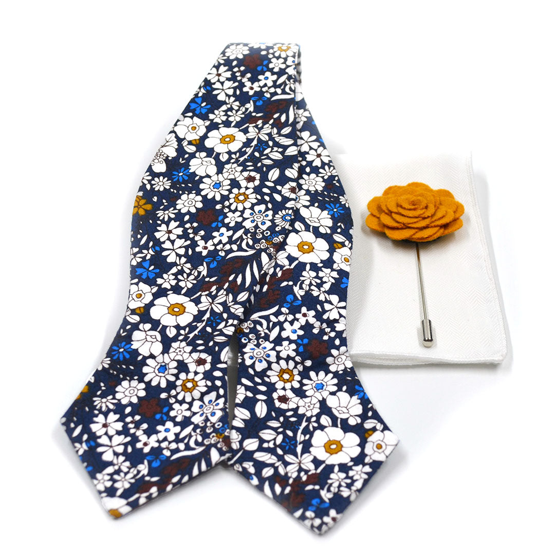floral blue bow tie set