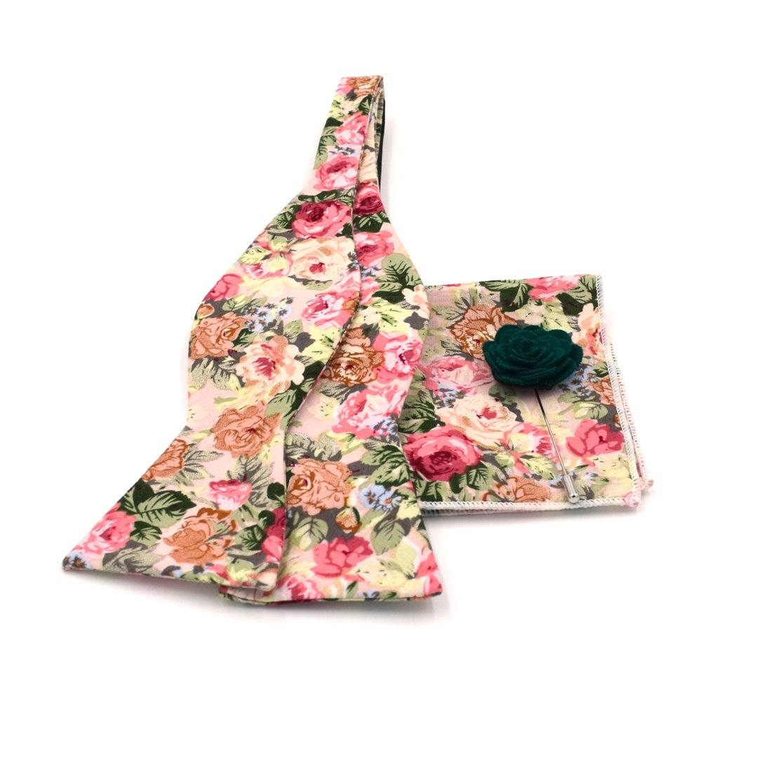 Bow Tie Set - Floral Beige Carnation Bow Tie Set