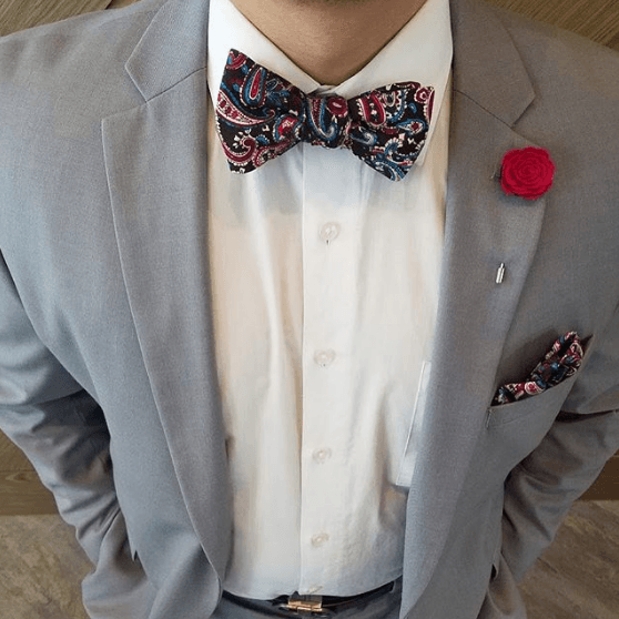 Bow Tie Set - Paisley Black Sky Blue Bow Tie Set