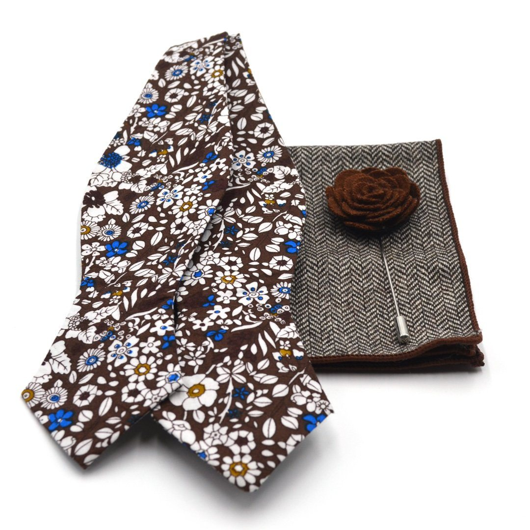 Bow Tie Set - Pecan Wildflower Bow Tie Set