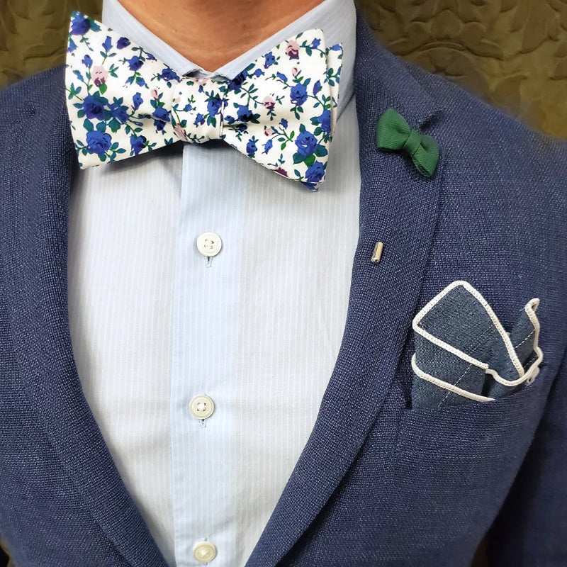 Floral Blue Ivy Bow Tie Set