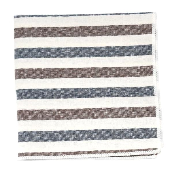 Pocket Square - Big Striped Oxford Blue Stone Pocket Square