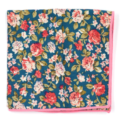 Pocket Square - Floral Emerald Rose Pocket Square