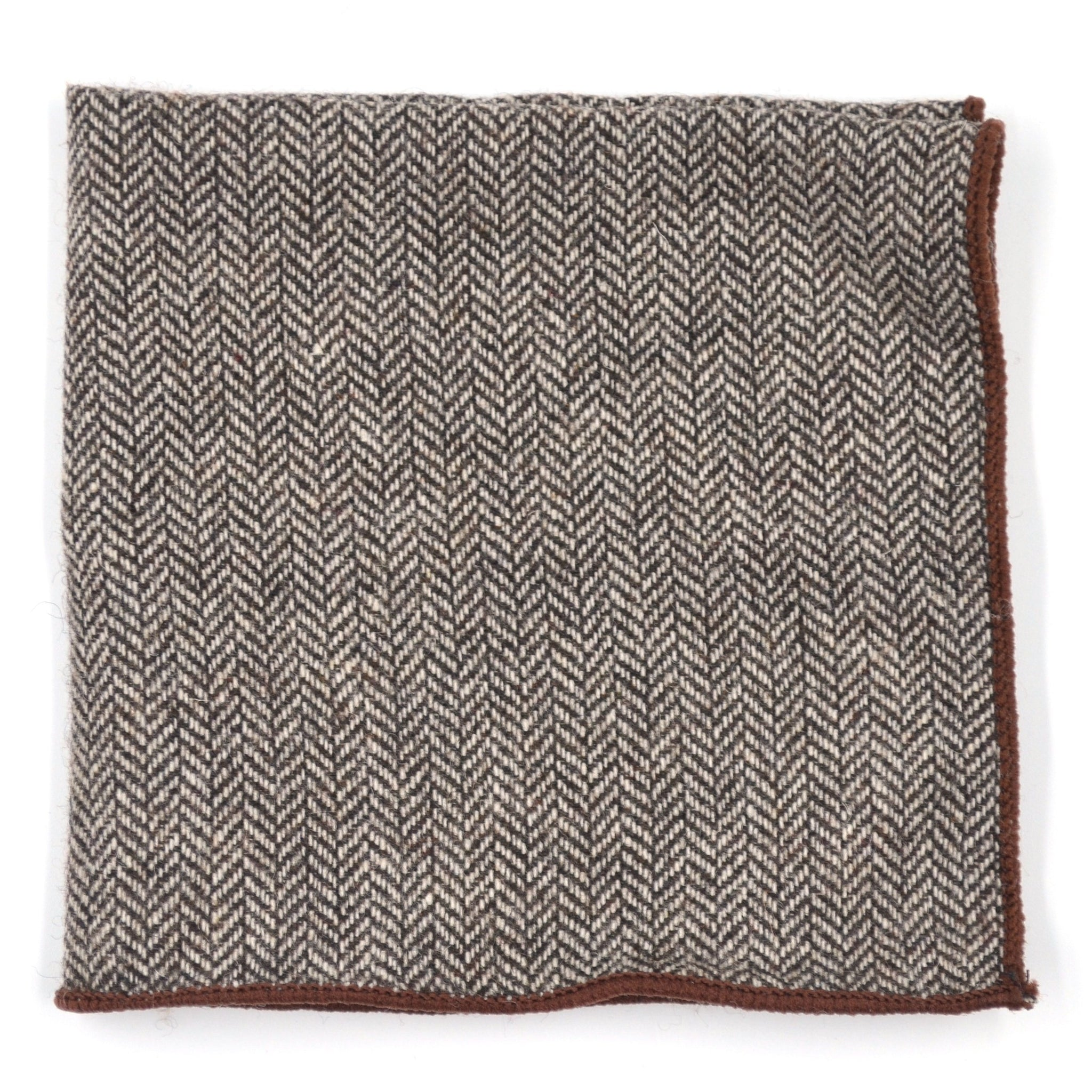 Pocket Square - Herringbone Brown Pocket Square