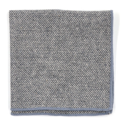 Pocket Square - Herringbone Grey Pocket Square