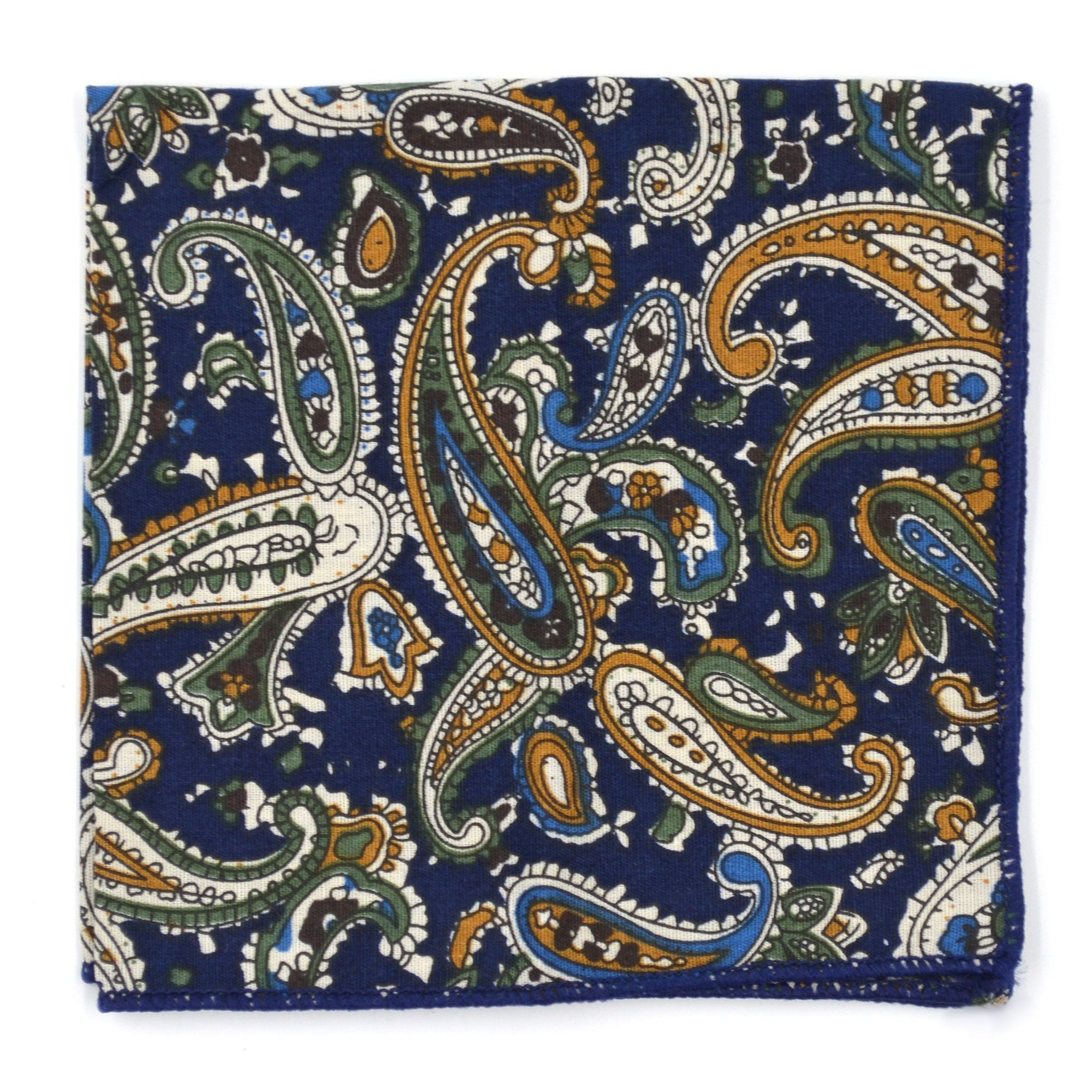 Pocket Square - Paisley Navy Dijon Pocket Square