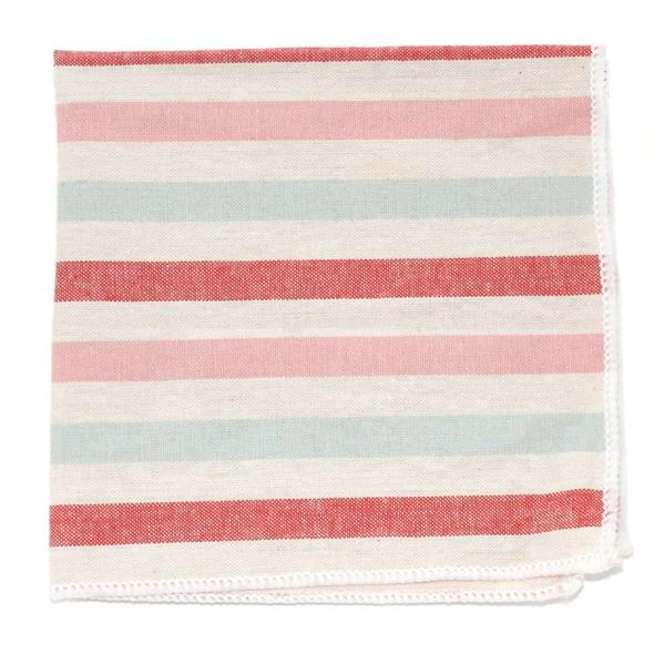 Pocket Square - Striped Arctic Cherry Pocket Square