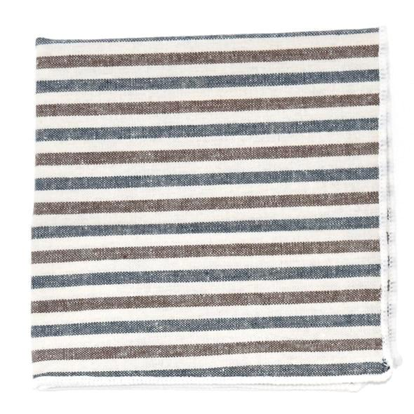 Pocket Square - Striped Oxford Blue Stone Pocket Square