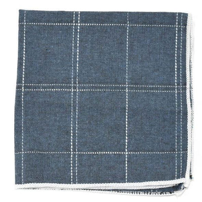 Window Pane Persian Blue Pocket Square