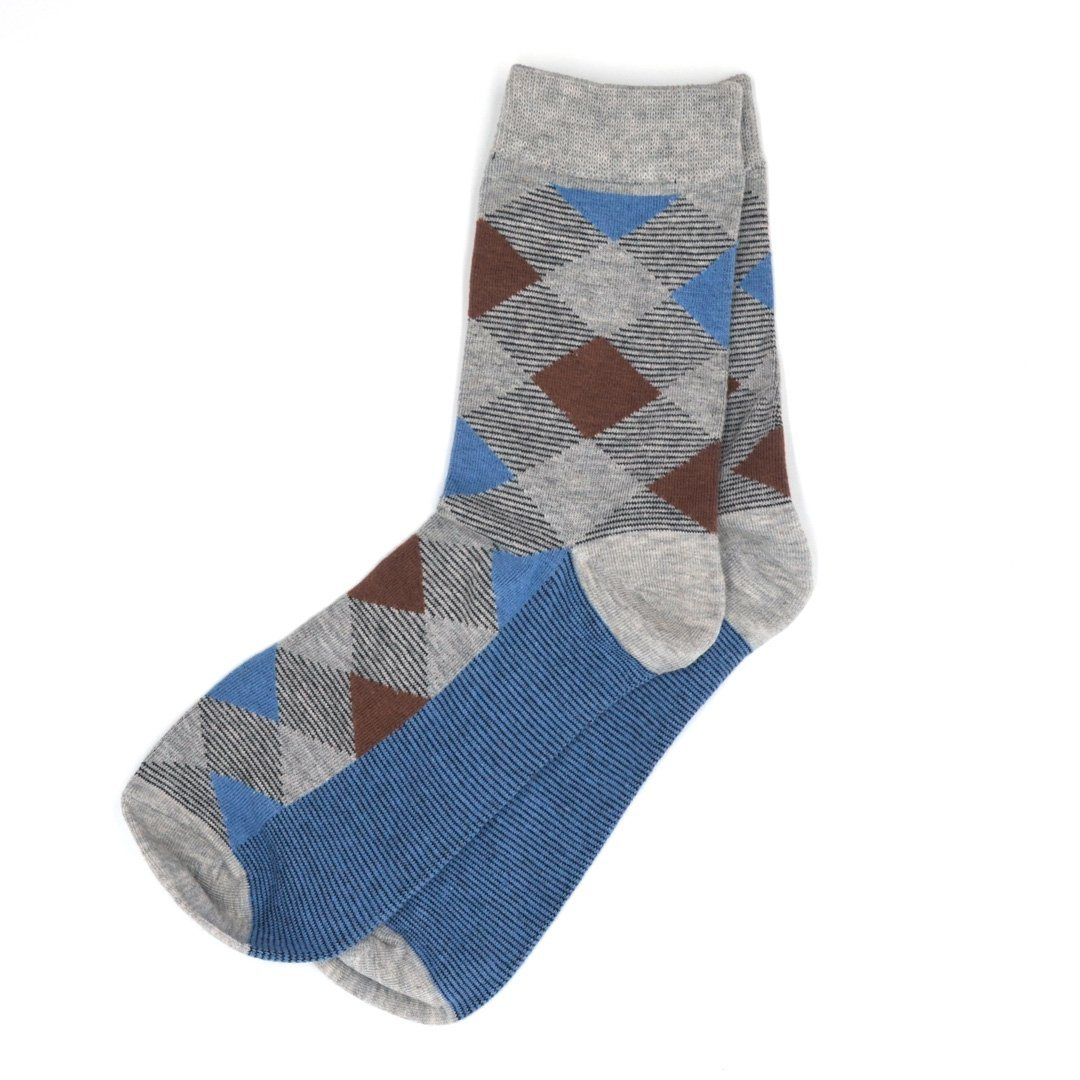 Socks - Diamond Striped Grey Men's Socks
