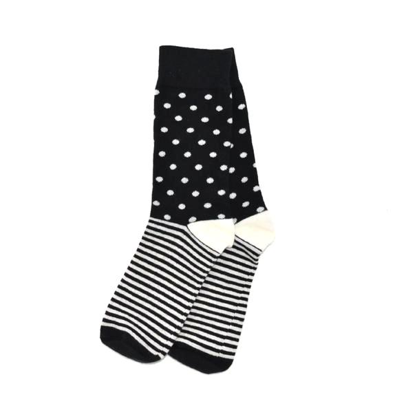 Socks - Polka-stripe Black Men's Socks