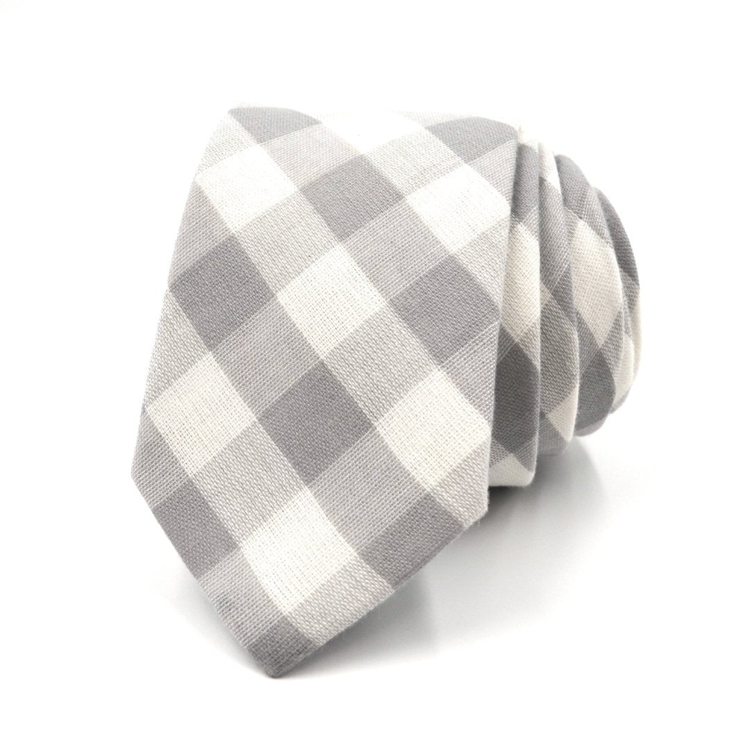 Tie - Checkered Heather Grey Tie