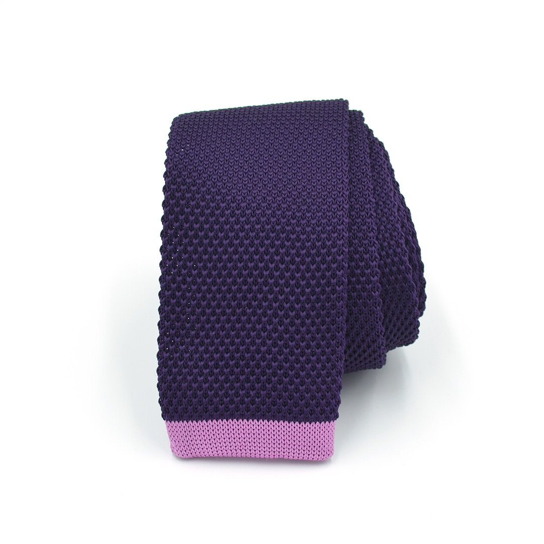 Tie - Knitted Eggplant Taffy Tie