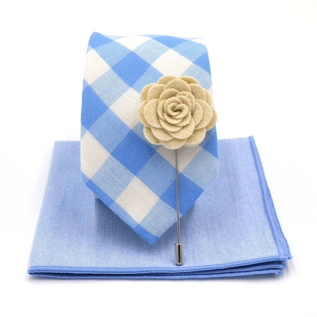 Tie Set - Checkered Baby Blue Tie Set