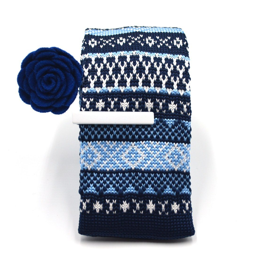 Tie Set - Knitted Navy Sweater Tie Set