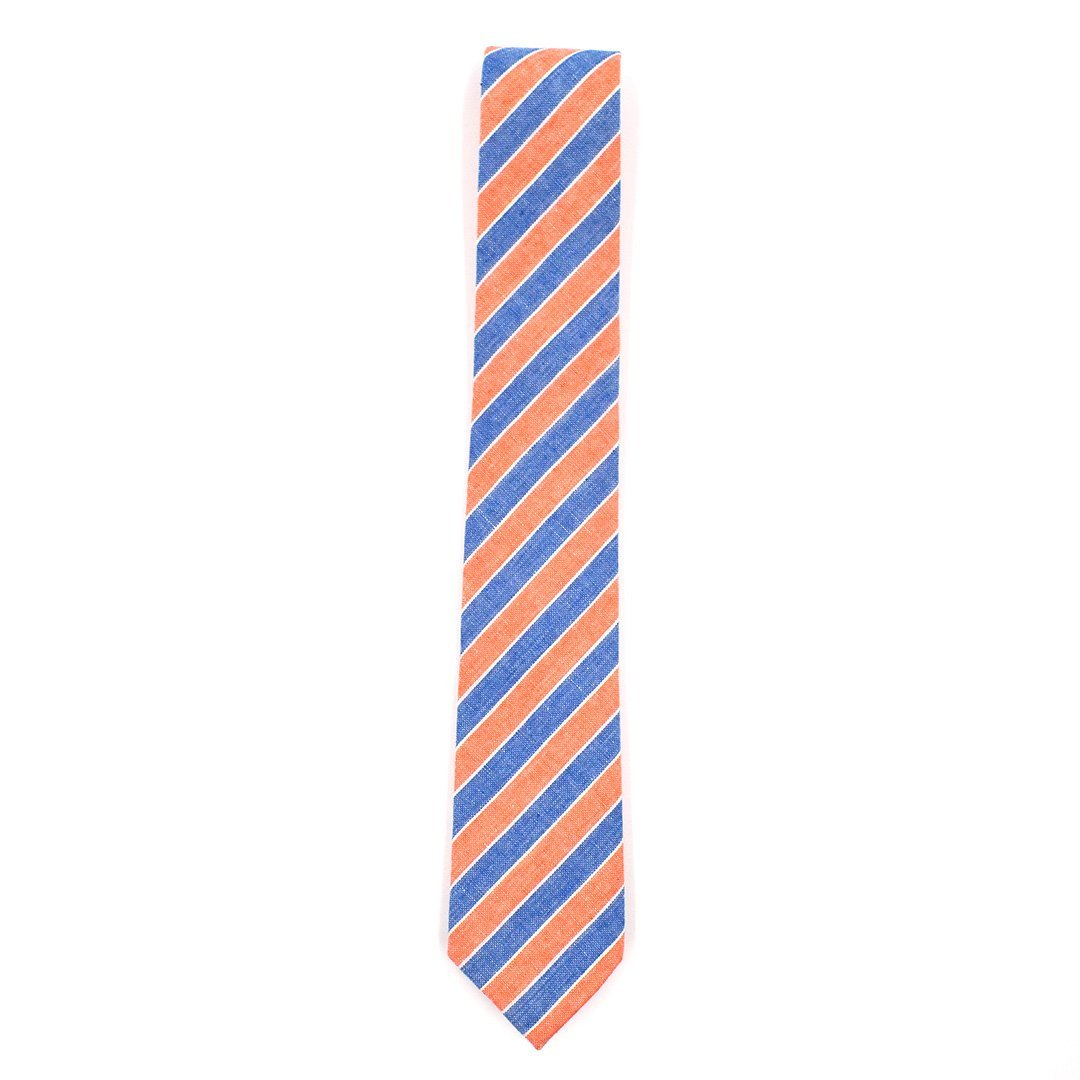Tie - Striped Light Orange Denim Tie
