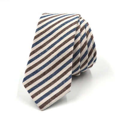 Tie - Striped Oxford Blue Stone Tie
