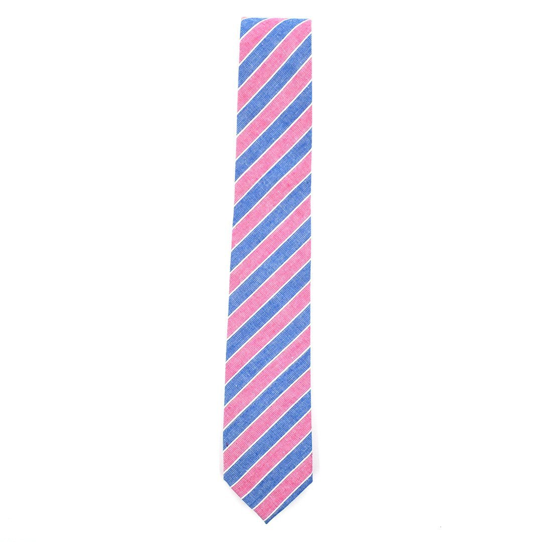 Tie - Striped Strawberry Denim Tie