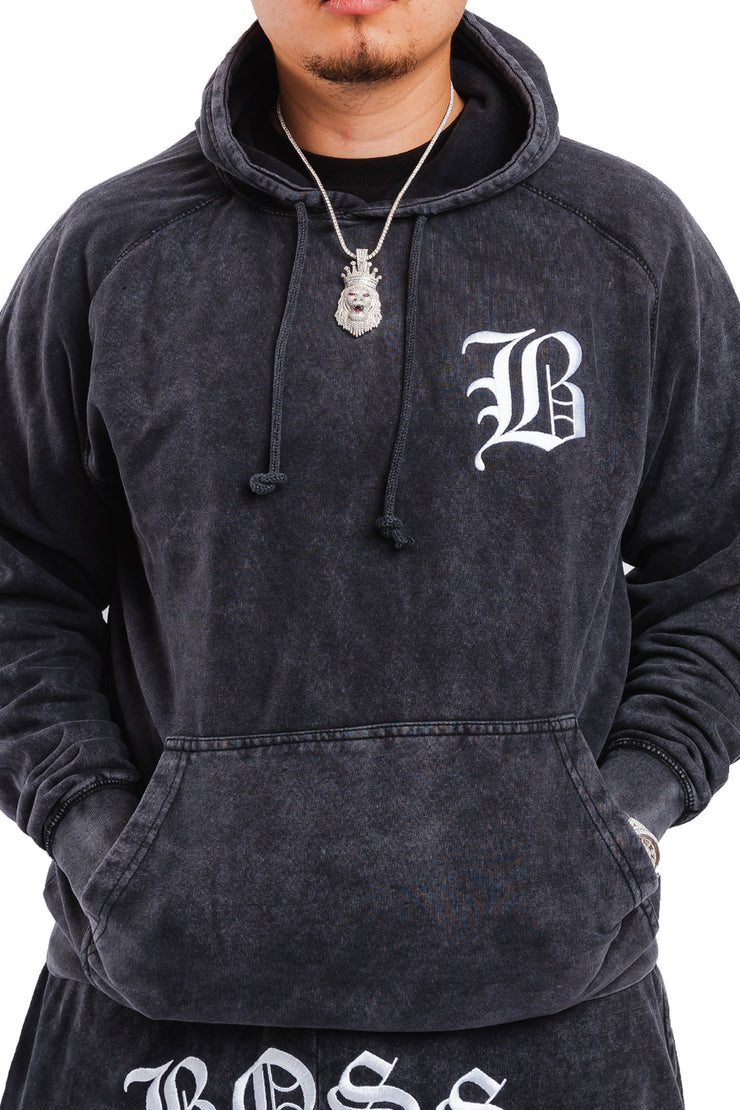 "Acid Wash Black B Hoodie ""Embroidered Logo"""