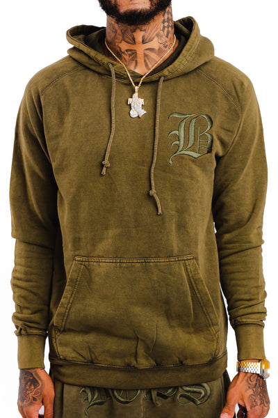 "Acid Wash Olive B Hoodie ""Embroidered Logo"""