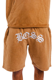 "Acid Wash Tan Boss Shorts ""Embroidered Logo"""