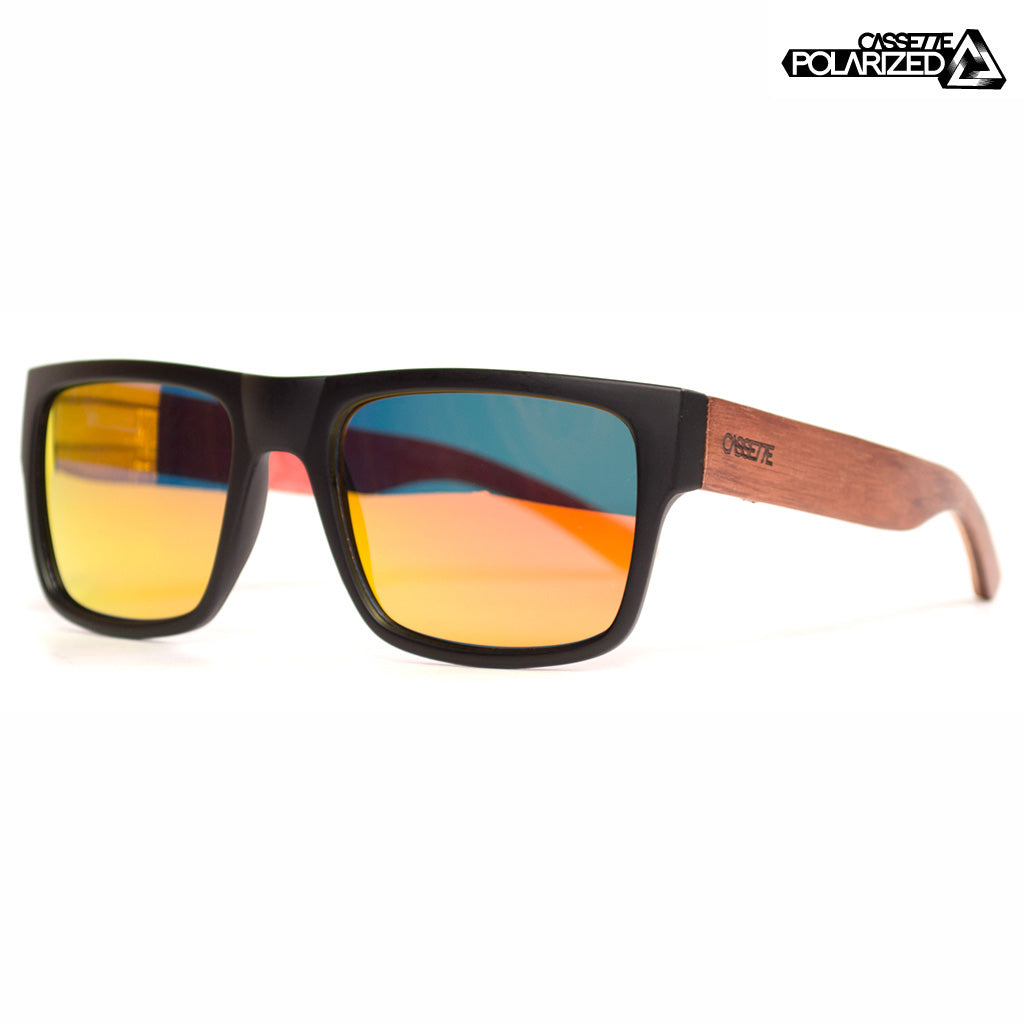 Matte Black & Rosewood-Maple Skatedeck/Fire Mirror Polarized Lens Sunglasses