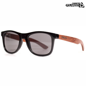 Black & Red Lacewood/Smoke Polarized Lens Sunglasses