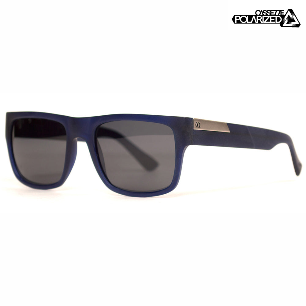 Matte Transparent Navy/Smoke Polarized Lens Sunglasses
