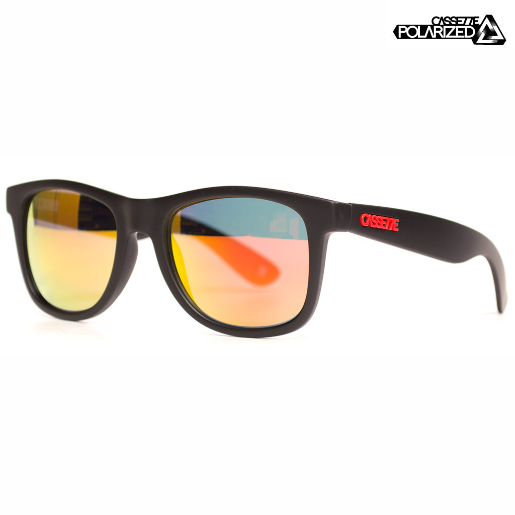 Matte Black/Polarized Fire Mirror Lens Sunglasses