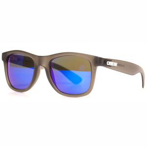 Frosted Charcoal Black/Blue Mirror Lens Sunglasses
