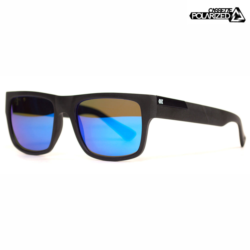 Matte Black/Blue Mirror Polarized Lens Sunglasses