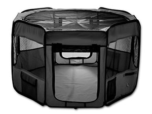 "ESK Collection 48"" Pet Puppy Dog Playpen Exercise Pen Kennel 600d Oxford Cloth Black - Kaulana Pets"