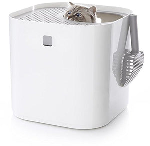 Modkat Litter Box, Top-Entry, Looks Great, Reduces Litter Tracking - White - Kaulana Pets
