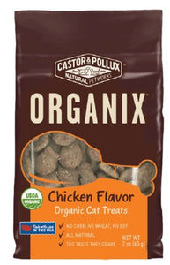 Castor & Pollux Organix Chicken Flavored Cat Treats, 2 Ounce Packages (Pack of 12) - Kaulana Pets