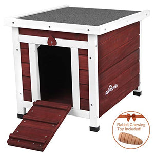 Aivituvin Wooden Dog and Cat House Outdoor and Indoor,Feral Pet Houses for Cats Insulated,Kitty Condo with Asphalt roof.(Aubur, Cat House #12) - Kaulana Pets