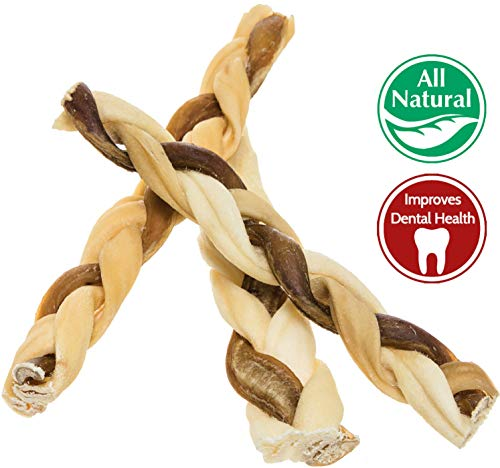 "7"" Bully Stick Rawhide Braids for Dogs (10 Pack) Natural Bulk Dog Dental Treats & Healthy Chew Bones for Aggressive & Passive Chewers, Beef Best Low Odor Thick Pizzle Stix dog treats  Kaulana Pets"