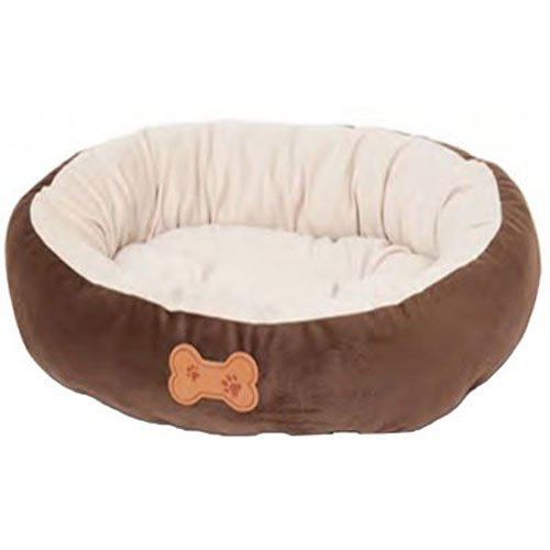 Aspen Pet Oval Cuddler Pet Bed, 20-Inch by 16-Inch, Chocolate Brown - Kaulana Pets