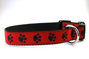 Handmade Dog Collar- Black and Red Paws on Black - Kaulana Pets