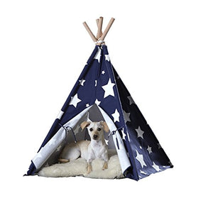 Blue with White Stars Pet Teepee - Kaulana Pets