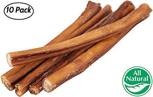 "12"" Straight Bully Sticks for Dogs [Large Thickness] (10 Pack) dog treats  Kaulana Pets"