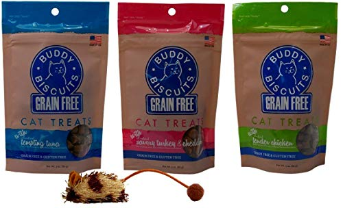 Buddy Biscuits Grain Free Gluten-Free Soft Moist Cat Treats 3 Flavor Variety with Toy Bundle, (1) Each: Tempting Tuna, Savory Turkey Cheddar, Tender Chicken (3 Ounces) - Kaulana Pets