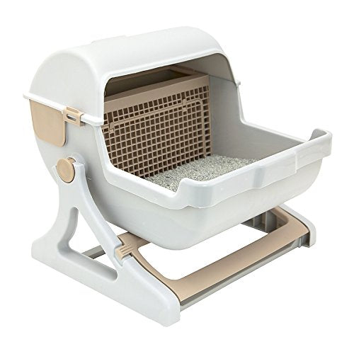 Le you pet semi-automatic quick cleaning cat litter box, Luxury cat toilet(white / milk brown) - Kaulana Pets