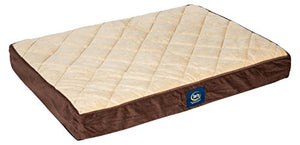 Serta Orthopedic Quilted Pillowtop Dog Bed, Large, Mocha - Kaulana Pets