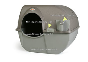 Omega Paw NRA15-1 Improved Roll 'n Clean Self Cleaning Litter Box, Regular, Pewter - Kaulana Pets