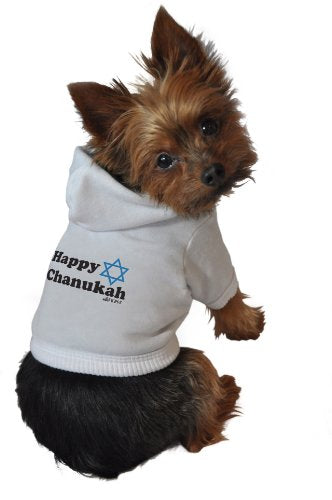 Ruff Ruff and Meow Dog Hoodie, Happy Chanukah, White, Extra-Large jerseys  Kaulana Pets