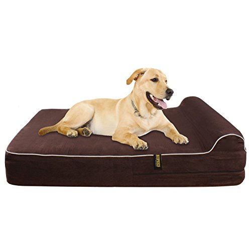 "Extra Large 7"" Thick Orthopedic Memory Foam Dog Bed With 3'' Pillow - Includes Waterproof Inner Protector - Dark Chocolate Color XL dog bed  Kaulana Pets"